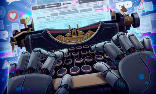 An animated robot typing on the typewriter